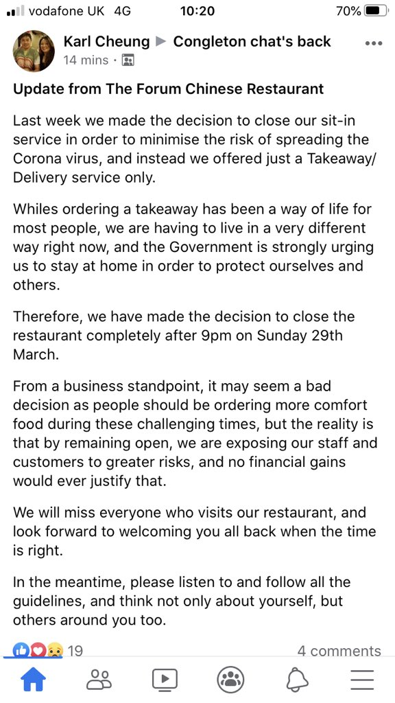 We have stopped Takeaways/Deliveries until further notice.